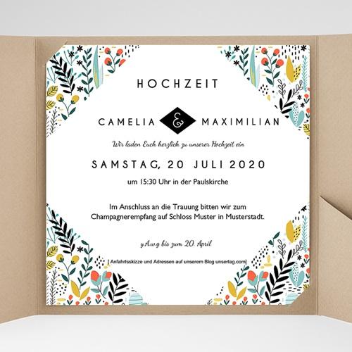 Hochzeitskarten Quadratisch Wilde Blumen Carteland De