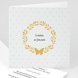 Hochzeitseinladungen traditionell Kranz und Schmetterling