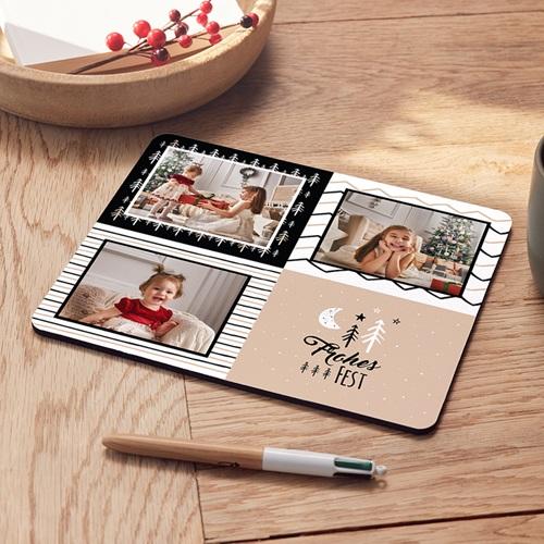 Personalisierte Foto-Mousepad Weihnachtsfreude, 3 Fotos