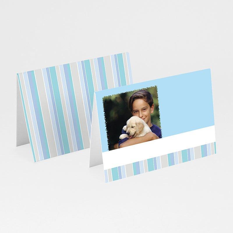 Tischkarten Kommunion Blaue Streifen 1