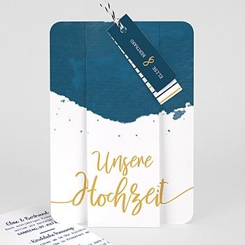 Einladungskarten Hochzeit  Gold & Aquarell