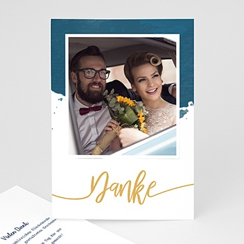 Originelle Dankeskarte Hochzeit  - Gold & Aquarell - 0
