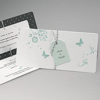 Klassische Hochzeitskarten  - Blaue Schmetterlinge - 0