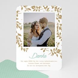 Dankeskarten Hochzeit mit Foto Goldschimmernde Blätter
