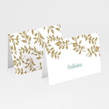 Tischkarten Hochzeit - Goldschimmernde Blätter - 0