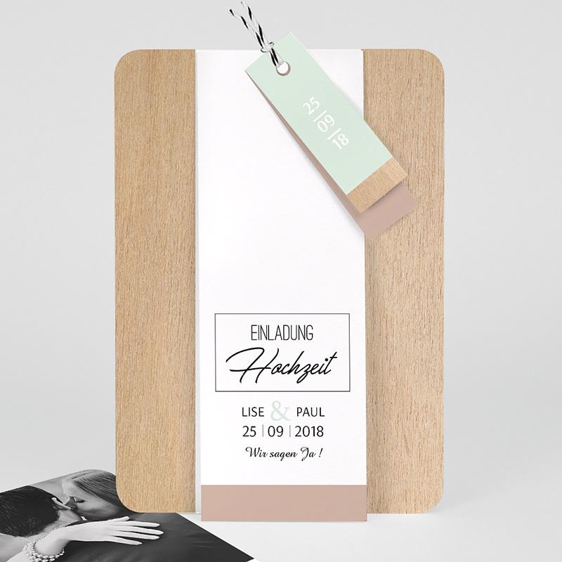 Hochzeitskarten Vintage  - Holz & Pastell 58010 thumb