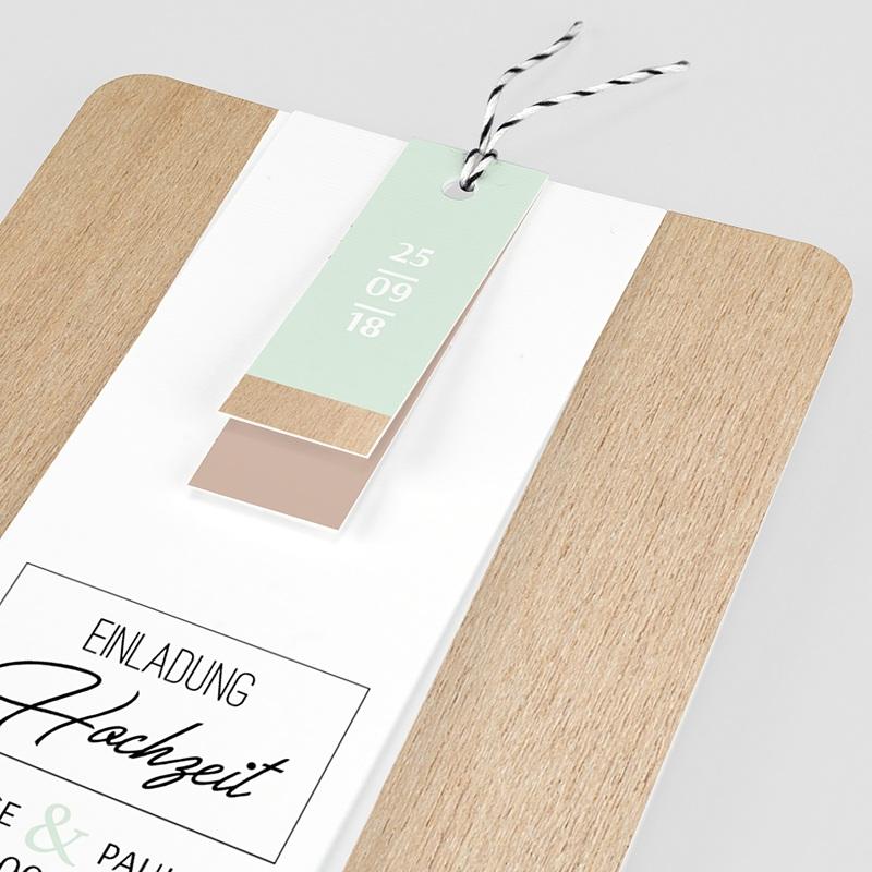 Hochzeitseinladungen Holz & Pastell pas cher