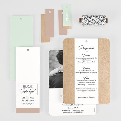Hochzeitseinladungen Holz & Pastell gratuit