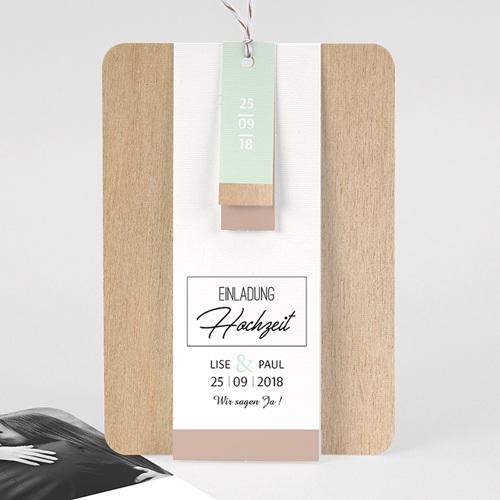 Hochzeitskarten Vintage  - Holz & Pastell 58013 thumb