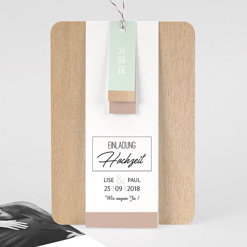 Hochzeitseinladungen Holz & Pastell