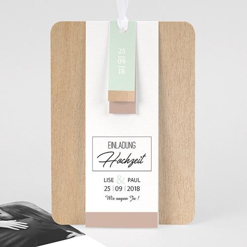 Hochzeitskarten Vintage  - Holz & Pastell 58014 thumb
