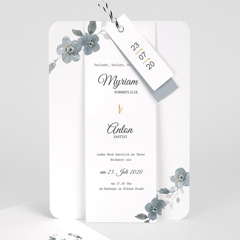 Elegante Hochzeitskarten  - Botanisches Blau 58073 thumb