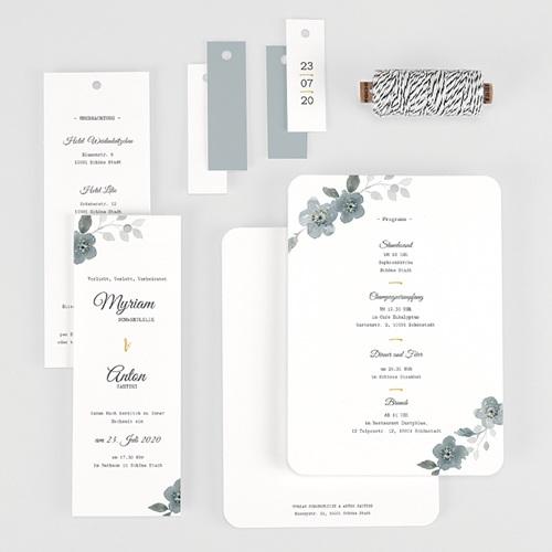 Elegante Hochzeitskarten  - Botanisches Blau 58075 thumb