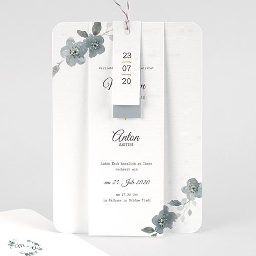 Elegante Hochzeitskarten  - Botanisches Blau 58076 thumb