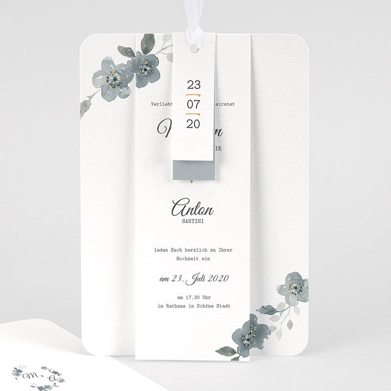 Elegante Hochzeitskarten  - Botanisches Blau 58077 thumb