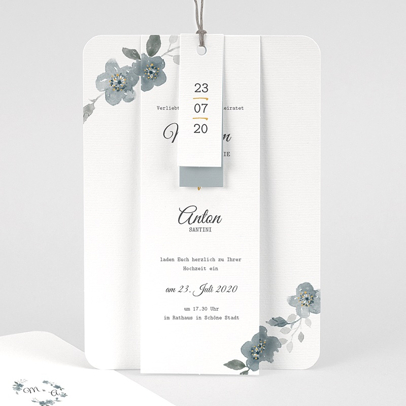 Elegante Hochzeitskarten  - Botanisches Blau 58078 thumb