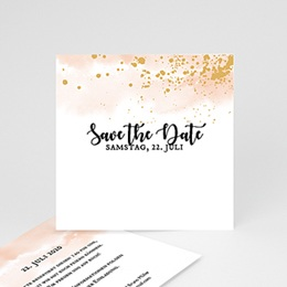 Save the date Hochzeit Aquarell trifft Gold