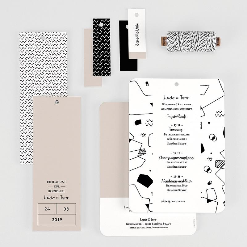 Kreative Hochzeitseinladungen Abstrakte Formen gratuit