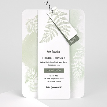 Einladungskarten Landhochzeit - Farngrün - 0