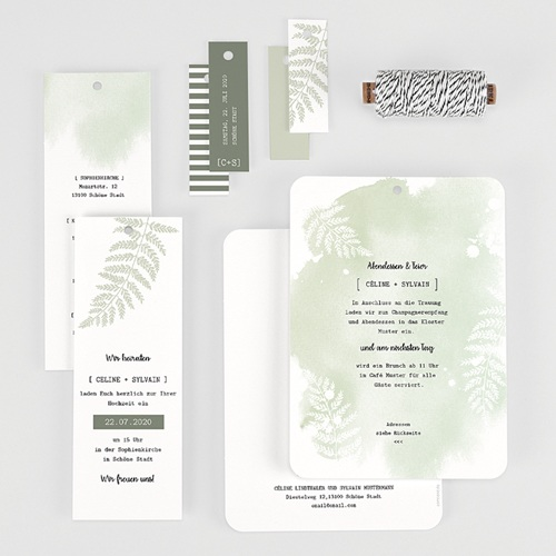 Einladungskarten Landhochzeit - Farngrün 58406 thumb