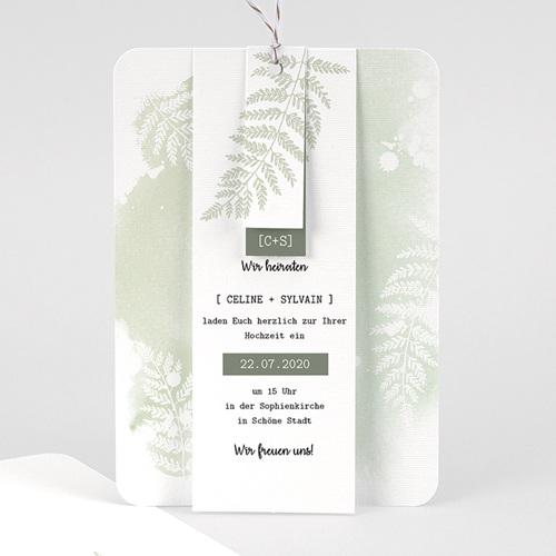 Einladungskarten Landhochzeit - Farngrün 58407 thumb