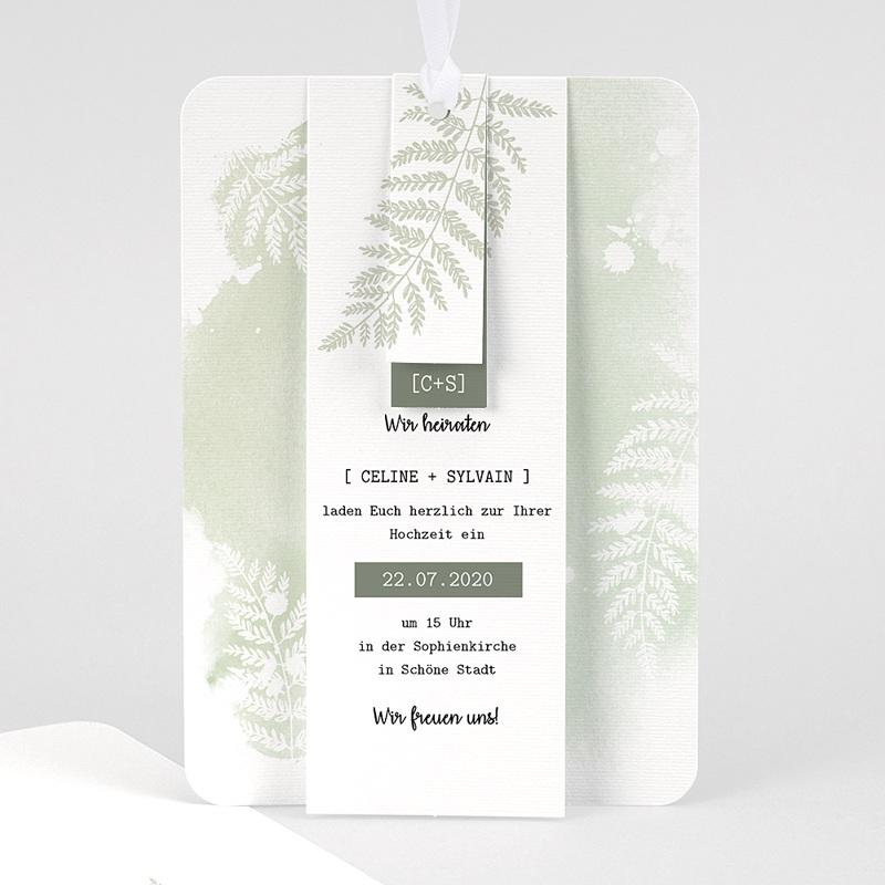 Einladungskarten Landhochzeit - Farngrün 58408 thumb