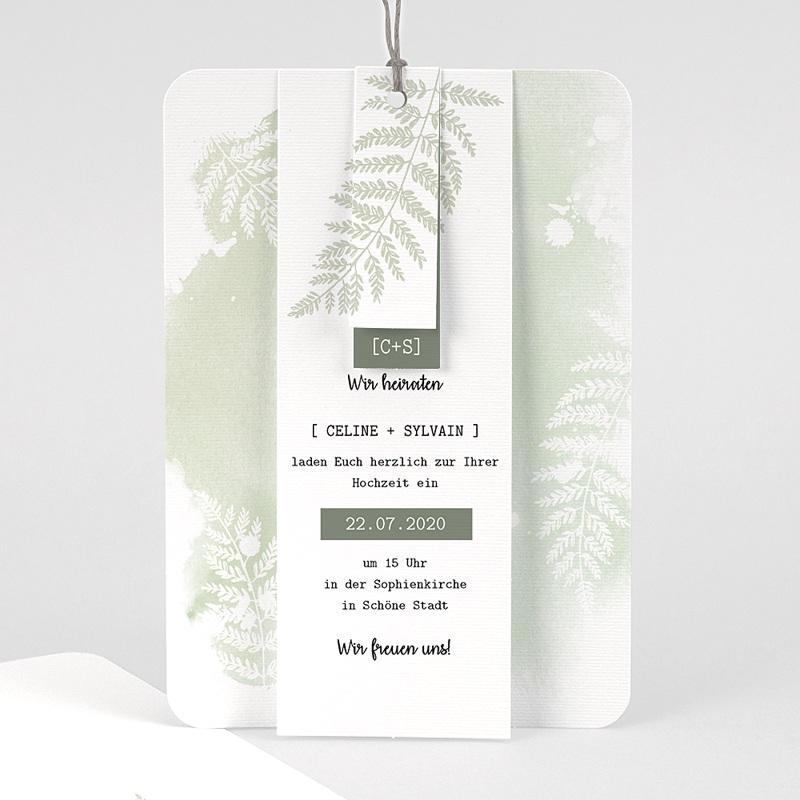 Einladungskarten Landhochzeit - Farngrün 58409 thumb