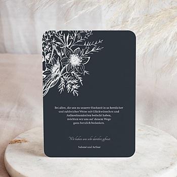 Dankeskarten Hochzeit mit Foto - Skizze Floral - 0
