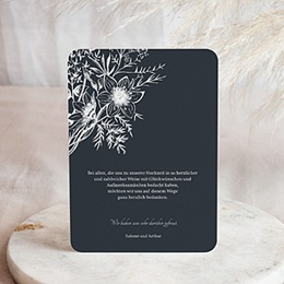 Dankeskarten Hochzeit mit Foto Skizze Floral