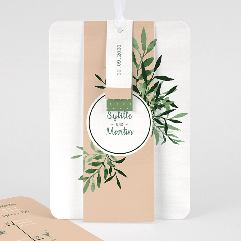 Einladungskarten Landhochzeit - Botanisches Grün 58561 thumb