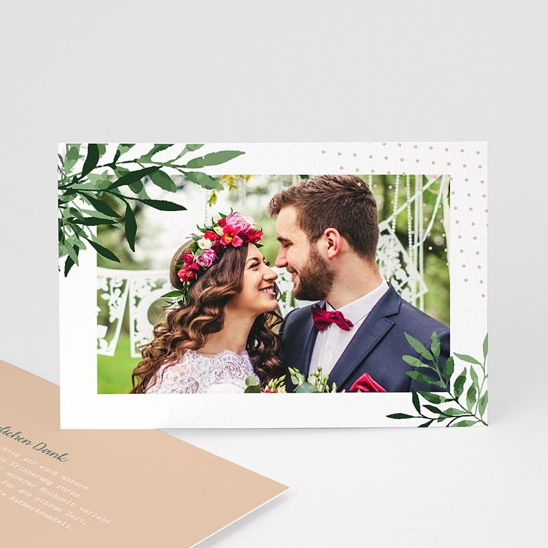 Dankeskarten Hochzeit mit Foto - Botanisches Grün 58633 thumb