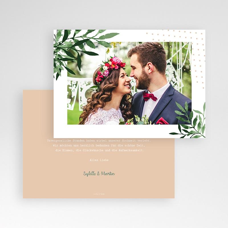 Dankeskarten Hochzeit mit Foto - Botanisches Grün 58634 thumb