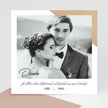 Dankeskarten Hochzeit mit Foto - Holz & Pastell - 0