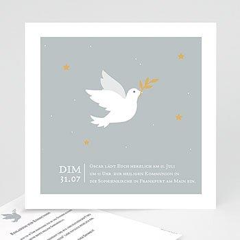 Einladungskarten Kommunion Jungen - Holly Spirit Grau - 0