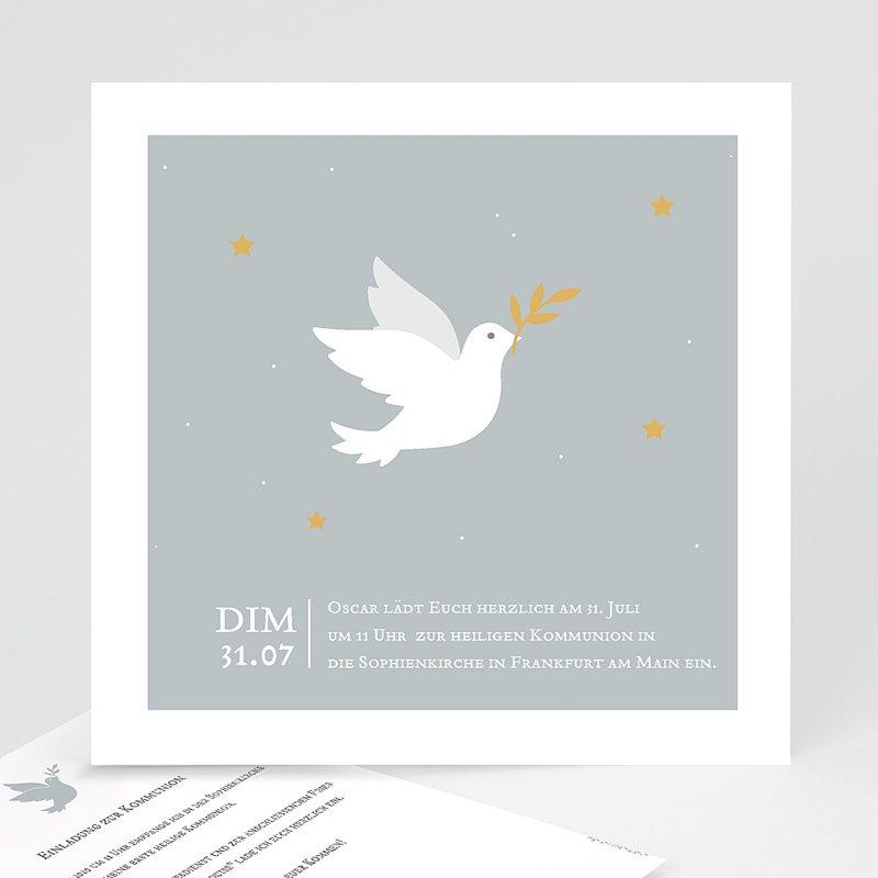 Einladungskarten Kommunion Jungen Holy Spirit Grau
