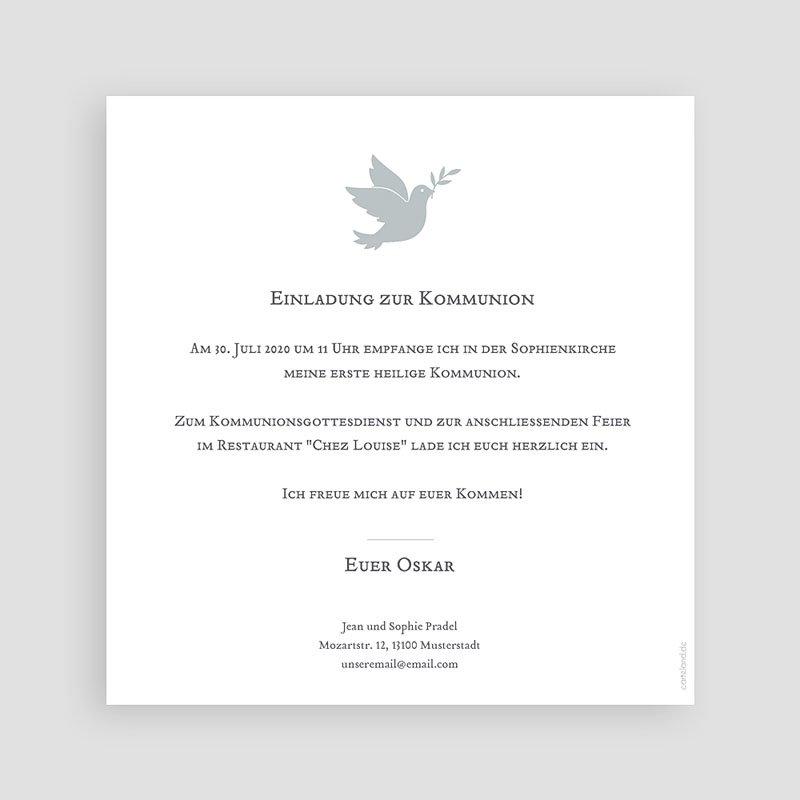 Einladungskarten Kommunion Jungen Holy Spirit Grau pas cher