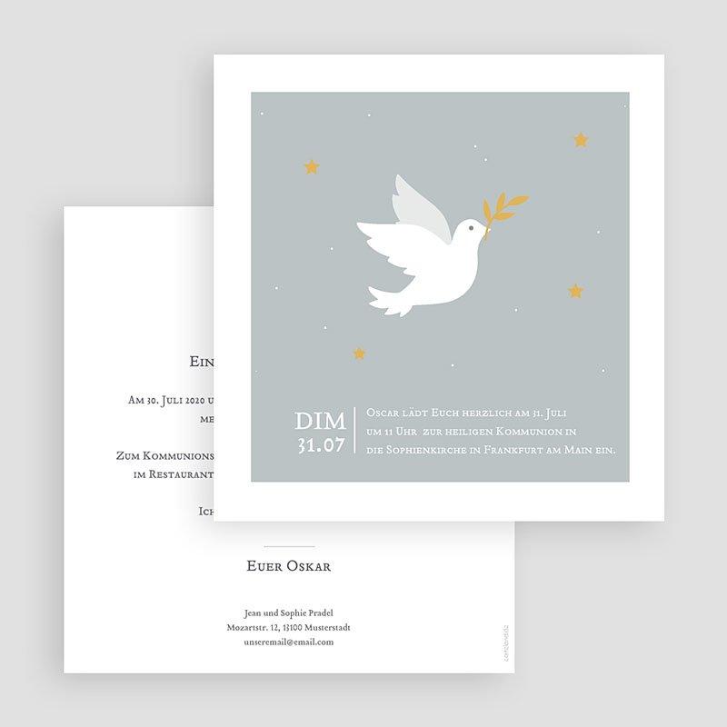 Einladungskarten Kommunion Jungen Holy Spirit Grau gratuit