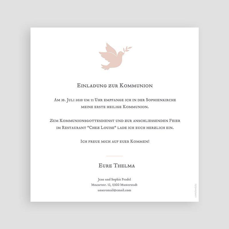 Einladungskarten Kommunion fur Mädchen Holy Spirit Rose pas cher