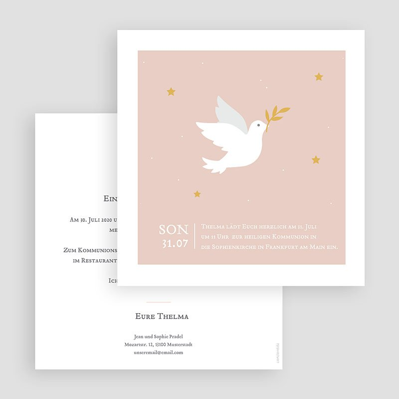 Einladungskarten Kommunion Mädchen - Holy Spirit Rose 58737 thumb