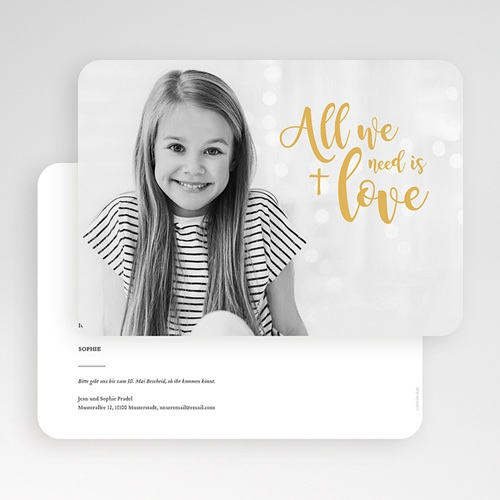 Einladungskarten Kommunion fur Mädchen All you need is Love gratuit