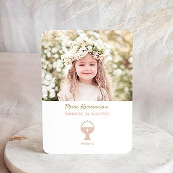 Einladungskarten Kommunion Mädchen - Kelch & Foto - 0
