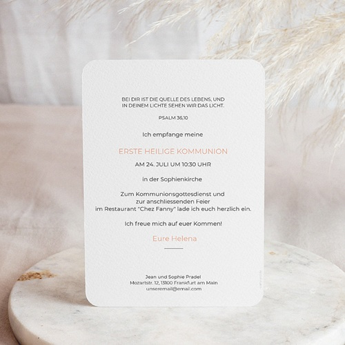 Einladungskarten Kommunion fur Mädchen Kelch & Foto pas cher