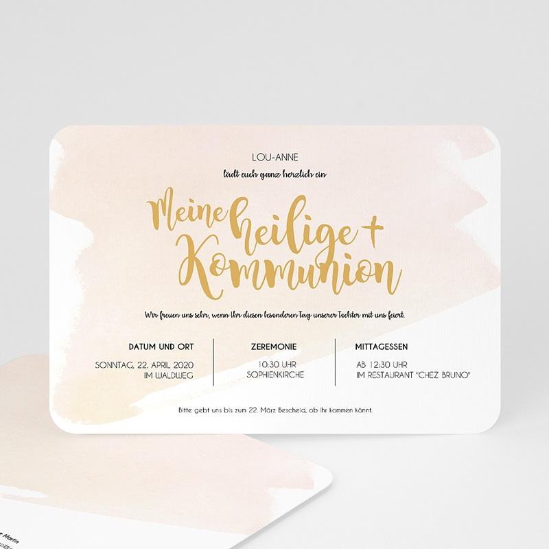Einladungskarten Kommunion Mädchen Watercolor Touch