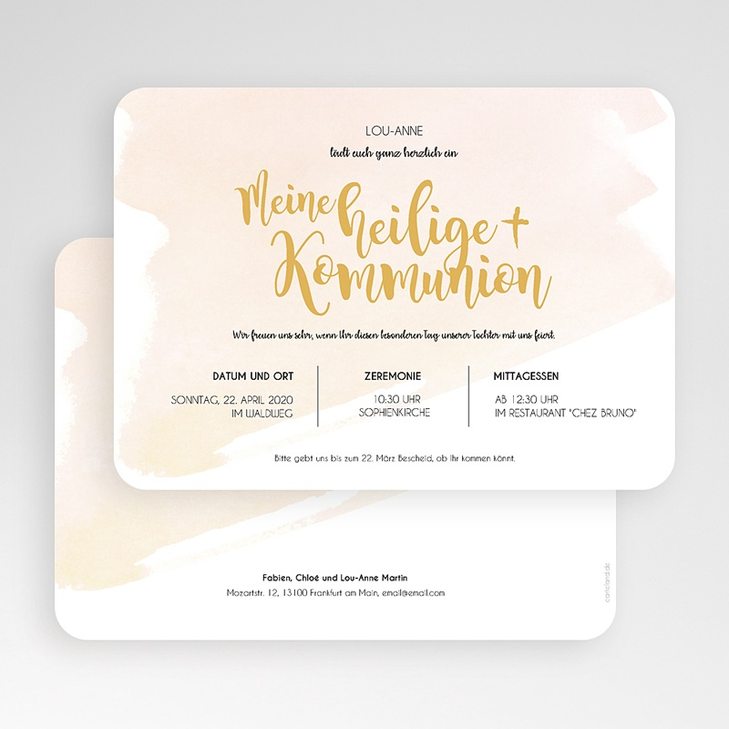 Einladungskarten Kommunion Mädchen Watercolor Touch gratuit