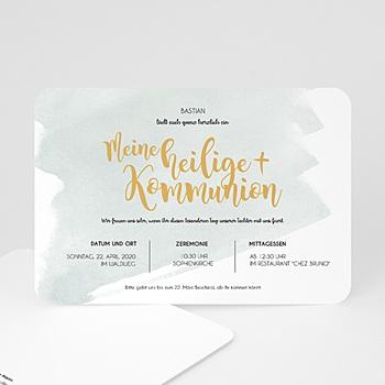 Einladungskarten Kommunion Jungen - Watercolor & Gold - 0