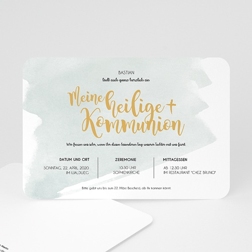 Einladungskarten Kommunion fur Jungen Watercolor & Gold