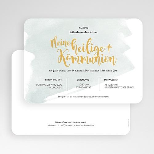 Einladungskarten Kommunion fur Jungen Watercolor & Gold gratuit