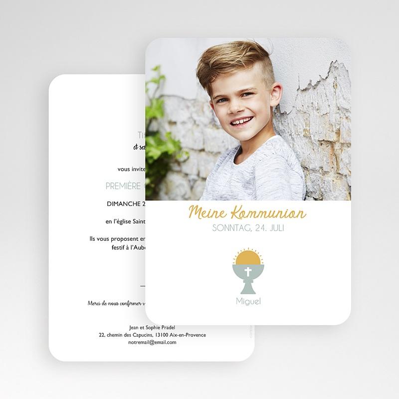 Einladungskarten Kommunion Jungen Symbolik gratuit