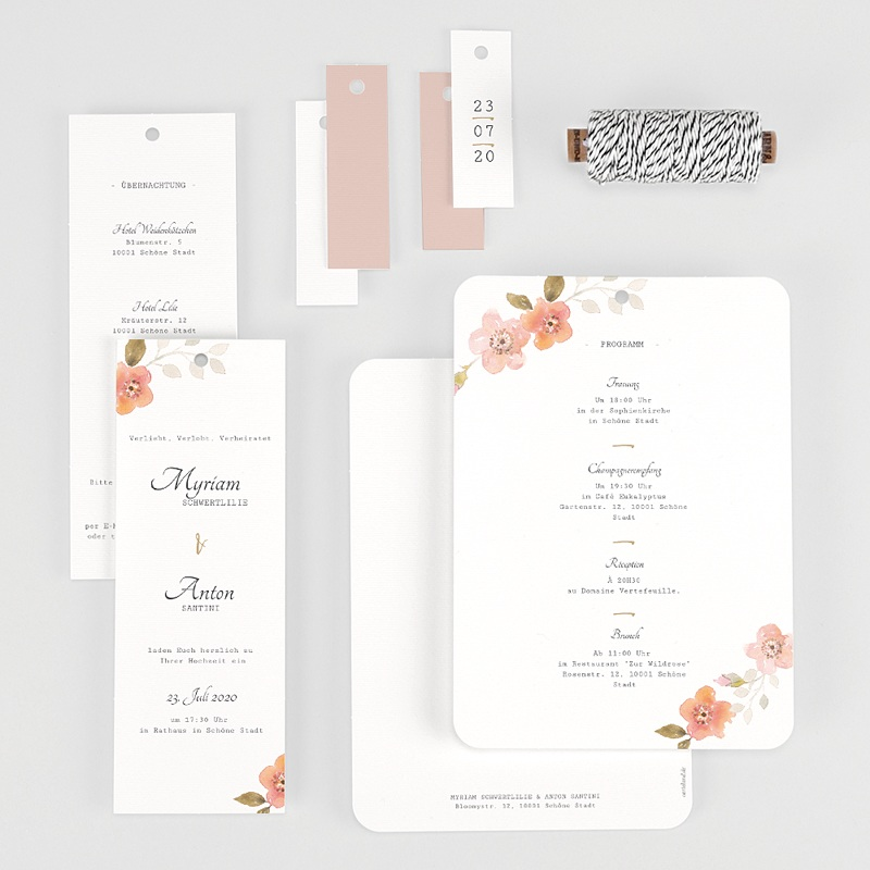 Einladungskarten Landhochzeit - Wildrose 58901 thumb