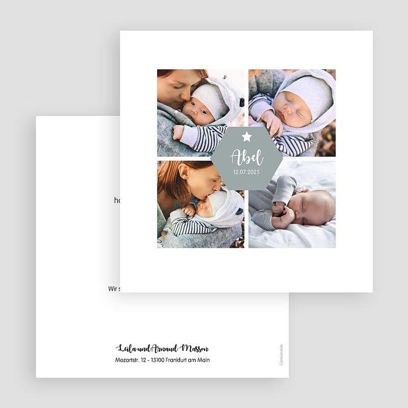 Geburtskarten für Jungen - Vier Fotos 59059 thumb